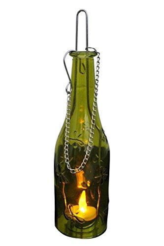 Echtglasflasche Kerzenhalter Flasche zum aufhängen versch. Farben erhältlich 14466 (grün)
