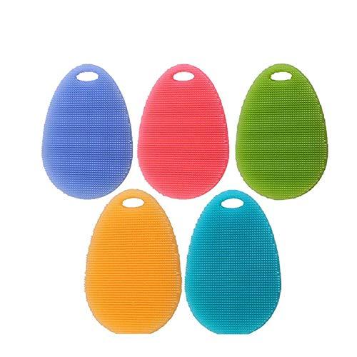 Yosoo 5stk weiche Silikon Teller waschende Reinigungs Bürsten Platten Schüssel Wäscher Frucht Gemüse Reinigungsmittel hitzebeständiges Schwamm Auflage Multifunktionsküchen Gadget