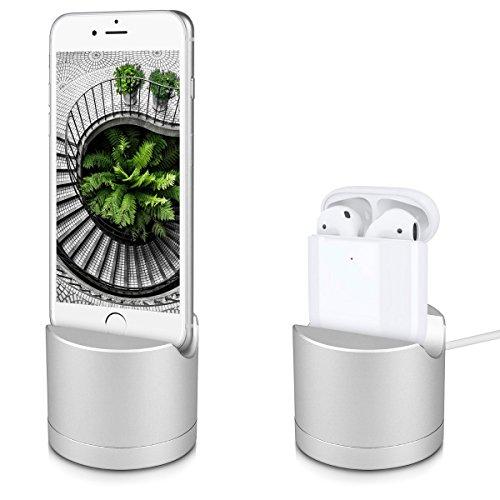 kwmobile Ladestation für Apple AirPods - Docking Station in Silber für iPhone iPod - Kopfhörer Aufladehalterung aus Aluminium - Stand ohne Kabel