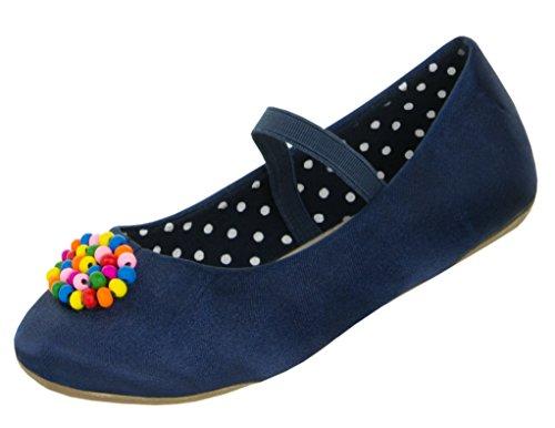 Beppi Kinder Ballerina Schuhe   Dunkelblaue Ballerinas mit Perlen   Komfortsohle aus Echt-Leder   Leichte Sommer-Schuhe für Mädchen   Blau   25