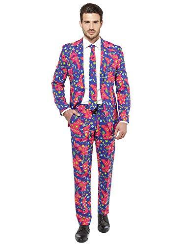 Kostüm Männer 80 Prom - Opposuits Abschlussball kostüme für Herren - Mit Jackett, Hose und Krawatte mit Festlichen Print