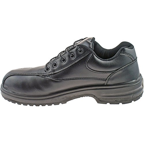 Grafters – 5 Eye Ladies sicurezza punta uniforme magazzino Scarpe Black Leather