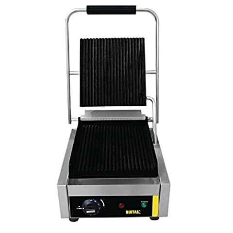 Buffalo Bistro Single Contact Grill 205X300X390mm Stainless Steel Iron