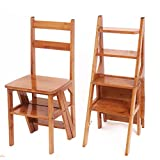 ZENGAI Massivholz Stuhl Leiter Leiterstuhl Leiter Stuhl Home Kreativ Multifunktion Vier Schichten Leiter Drinnen Leitern (Farbe : Gelb)