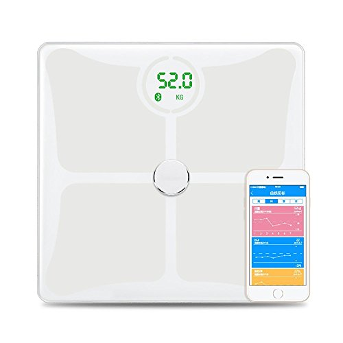 Verwalten Gewicht (POWMAX Digital Smart Wireless Body Fat Scale mit Android-App und iOS Body Gewicht zu verwalten, Wasser, Körperfett, Muskelmasse, BMR, BMI, Knochenmasse und viszeralfett, weiß)