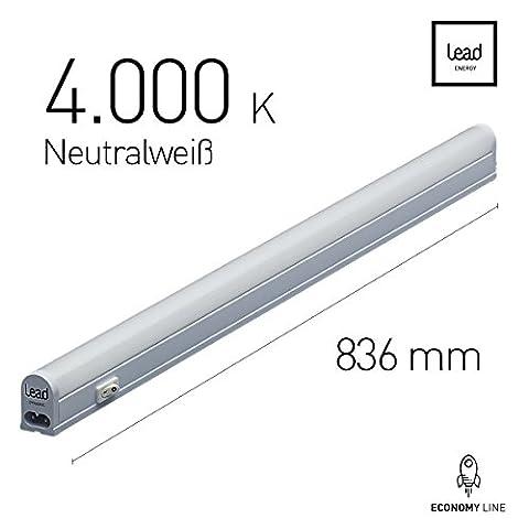 LED Unterbauleuchte |83.6cm | neutralweiß | LED Lichtleiste 13W | extrem hell -1050 Lumen | bis 12 Meter nahtlos erweiterbar | geeignete Lampe für die Küche, hinter Möbel, im Werkraum | 3 Jahre Garantie |Zertifiziert
