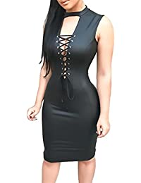 001e2b1b3c Vestido Mujer Cuero De PU Sin Mangas V Cuello Bandage Slim Fit Ajustado  Elegantes Modernas Casual