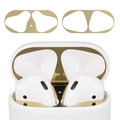 kwmobile Staubschutz Sticker kompatibel mit Apple AirPods - 18K Vergoldung - Schutz vor Metallstaub