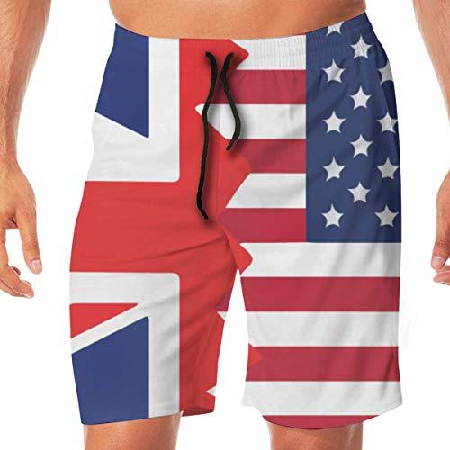 Generic Men's Surfing Boardshorts British American Flag Lightweight Beach Boardshort with Pocket,M -