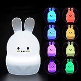 Baby Night Light,Lampada da comodino in silicone morbido Safe Tekemai 9 colori con telecomando, Lampada LED multicolore ricaricabile per bambini Camera da letto/regalo per bambini