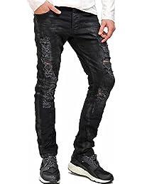 Redbridge Herren Jeans Hose Slim-Fit Destroyed Skinny Schwarz Denim M4144