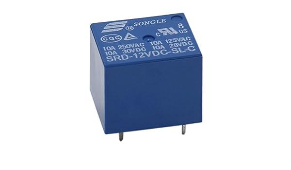 Heschen PC board Relais Srd-12vdc-sl-c DC 12/V Coil Spdt 10/A 250/VAC 5/broches Bornes Lot de 2