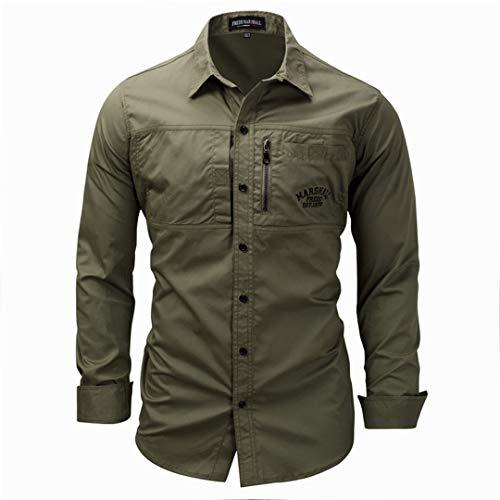 Zipper Plus Größe Männer Shirts Langärmelige Baumwolle Casual Slim Fit Militärische Taktische Shirts Für Kleidung L (Für Transformator-shirts Männer)