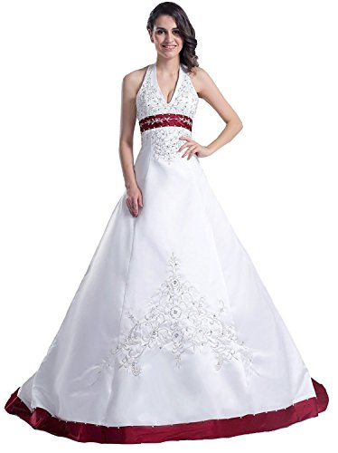 Edaier Frauen Perlen Halfter bestickt Satin Kleid Vintage Braut Brautkleid Größe 36 Weiß Burgund