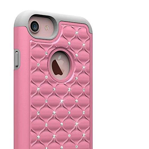 iPhone 7 Coque,Lantier [Shock Absorption] clouté strass Bling dur PC+Soft Rubber Dual Layer Impact Cover Résistant Hybride pour Apple iPhone 7 4,7 pouces Purple Mint Green Lovely Rhinestone Pink-Grey