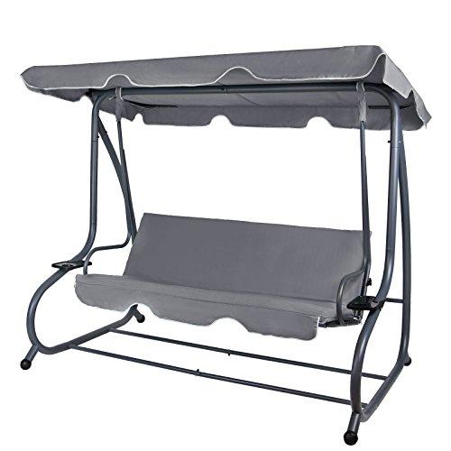 BB Sport 4-Sitzer Hollywoodschaukel klappbar mit Bettfunktion RAIVENNA mit Sonnendach und Liegefunktion für 4 Personen, Farbe:Asphaltgrau