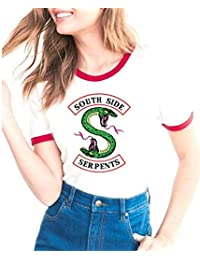 Riverdale Southside Serpents Camiseta Manga Corta T Shirt Mujer Casual Jersey Sudadera Imprimiendo Camisas Verano Pullover