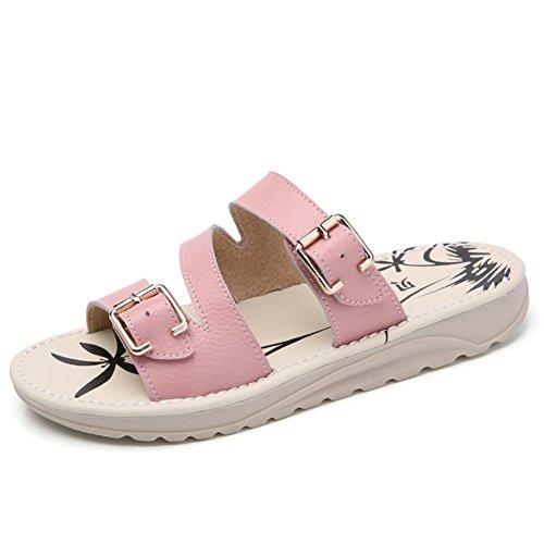 Étés fond plat shoes/Pantoufles en cuir étrangères C