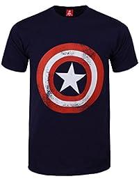 Marvel Captain America Schild Logo Männer T-Shirt blau | Offiziell lizenziert