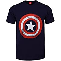 T Shirt Captain America Distressed Marvel Comics (Blu)