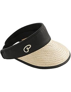 Stylisher Sonnenhut Sunvisor mit Baumwoll-Band Visor aus echtem handgeflochtenen Raffia-Bast Komfortable Damen-Kappe...