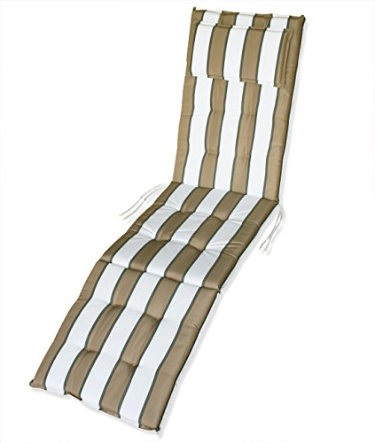 KMH®, Auflage für Relaxliege + Deckchair (beige/gestreift) (#105030)