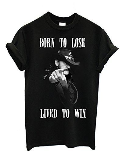 """T-shirt Uomo Lemmy """"Born To Lose"""" - Maglietta motorhead 100% cotone LaMAGLIERIA, S, Nero"""