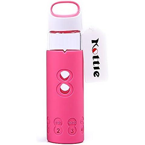 Kottle ecológico de 325 ml botella de agua de cristal con funda de silicona, sin BPA, rosa
