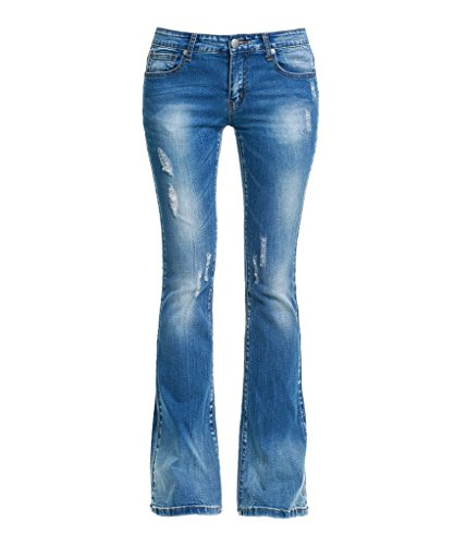 Dressation Donna a vita bassa Distressed Bootcut Denim Jeans Blue 42
