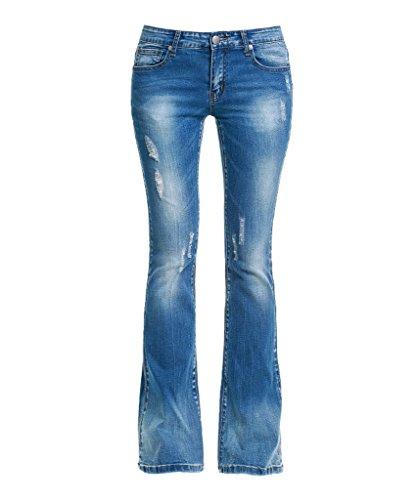 Dressation Donna a vita bassa Distressed Bootcut Denim Jeans Blue 42