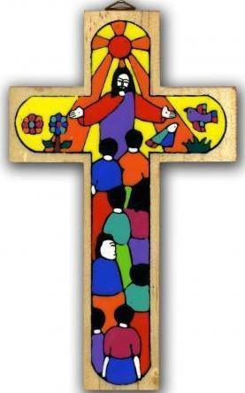 großes Holzkreuz Wandkreuz, Kruzifix , Kreuz aus Holz .Handbemalt aus El Salvador. 40cms