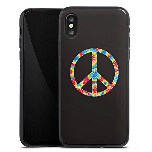 Apple iPhone X Silikon Hülle Case Schutzhülle Peace Hippie Bunt Silikon Case schwarz