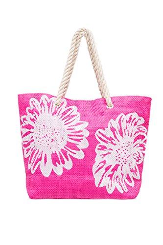 Signore grande Spiaggia Tote borsa a tracolla - disegno floreale Rosa