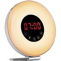 Hotweild Lichtwecker, LED 7 Farben Wake Up Licht Light mit FM Radio und 6 Toenen [Luxus Veresion] preisvergleich bei billige-tabletten.eu