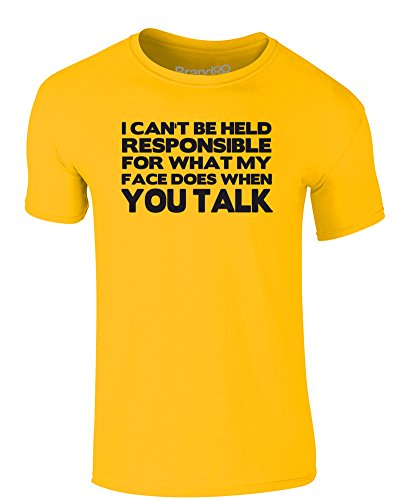 Brand88 - I Can't Be Held Responsible, Erwachsene Gedrucktes T-Shirt Gänseblümchen-Gelb/Schwarz