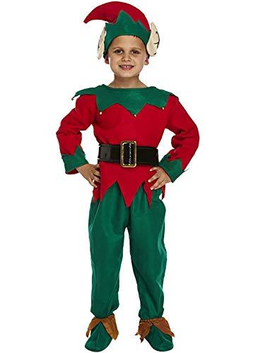 Kind Deluxe Santa (Islander Fashions Kinder Deluxe ELF Santa Helfer Kost�m Unisex-Weihnachtsfeier Tragen Kost�m 10-12 Jahre)