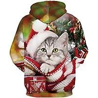 TING New Christmas Kitten Impresion Digital Uniformes de Beisbol Set Gran tamaño Hooded Sweater Amantes,L