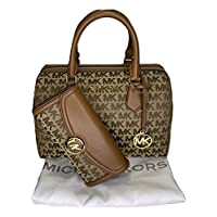 حقيبة مايكل كورس بيدفورد كبيرة الحجم من مايكل كورس مع محفظة مايكل كورس فولتون القارية بغطاء كبير (توقيع MK Jacquard بيج/أبون/أمتعة)