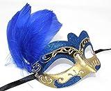 Das Gute Lieben Damen Blau Weiß und Gold Venezianischen Masquerade Partei Karneval Feder Maske