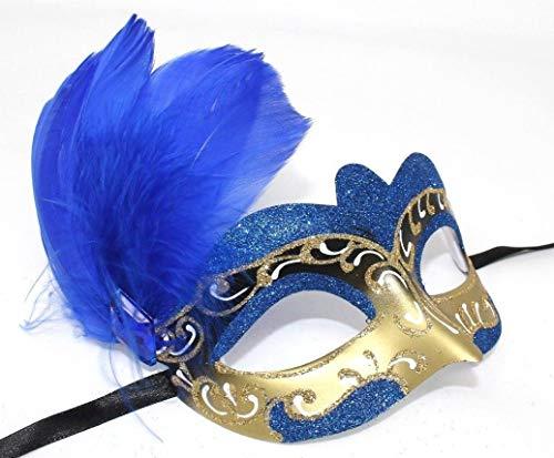 Das Gute Lieben Damen Blau Weiß und Gold Venezianischen Masquerade Partei Karneval Feder Maske (Masken Und Weiß Maskerade Gold)