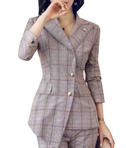 Andopa Damen trim-fit single button kerbe revers plaid ol jackett blazer L Lila - Kerbe Revers Single