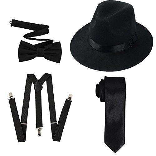 (1920er Jahre Mens Accessory Set harten Filz Breiter Krempe Panamahut, Y-Rücken elastische Hosenträger, Pre gebunden Fliege, dünne Krawatte)