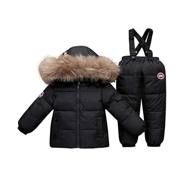 TYYM ski suit Traje De Bebé para La Nieve, Chaqueta con Capucha Monos De Una Pieza por 1-3 años Black-100cm 2