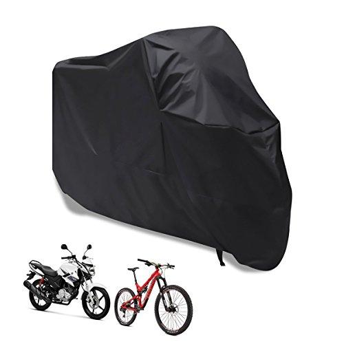 Pomisty Fahrradabdeckung Wasserdicht Fahrrad Schutzhülle, Fahrradgarage Schutzhülle Fahrradschutzhülle für Fahrräder Kompatibel mit Allen Modellen (190 x 65 x 95cm)-Schwarz