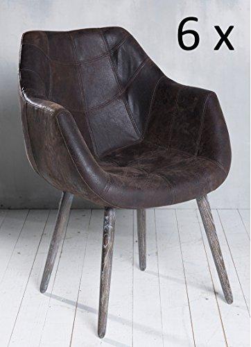 6x Armlehnenstuhl Stuhl Leder Braun mit Holzbeinen Esszimmerstuhl Echtleder Esszimmersessel Designstuhl Loungesessel Sessel Retro Look