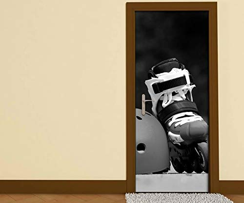 Türaufkleber schwarz weiß Inliner Helm Rollschuhe Sport Tür Aufkleber Bild Türposter Türfolie Druck selbstklebend 15B1186, Türgrösse:90cmx200cm