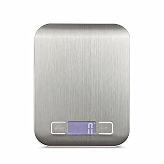Amtop Digital Kitchen Scale Multifunction Food Scale, 11lb 5KG, Slim Design Mini Scale, Waterproof Kitchen Scale, Stainless Steel (Silver)