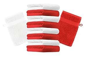 10er Pack Waschhandschuhe Waschlappen Premium Größe: 16x21 cm Farbe Rot & Weiß Kordelaufhänger 100% Baumwolle