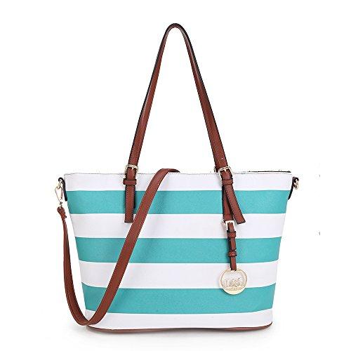 Frauen gestreifte farbige Handtasche Funktionalität große geschmackvolle Schultasche mit lange verstellbare und abnehmbare Armband (Handtasche Leder-gestreifte)