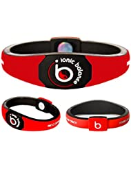 Bracelet Ionique Balance POWER - Equilibre Puissance - 100 pourcent coton jersey, Rouge, Medium - 19cm / 7.5in